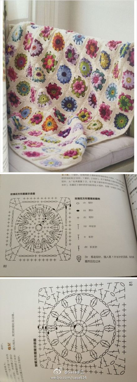 Such a lovely crochet blanket with two motifs: the sunburst granny and the puff daisy one! <3<3<3
