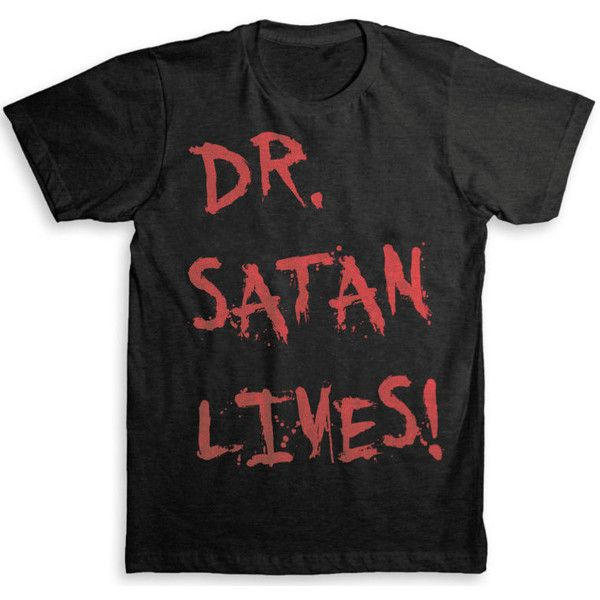 DR. Satan Lives - Rob Zombie's House of a thousand corpses T-Shirt -... ($25) ❤ liked on Polyvore featuring tops, t-shirts, shirts, tees, graphic design t shirts, short sleeve shirts, vintage tees, vintage graphic tees и pattern t shirts