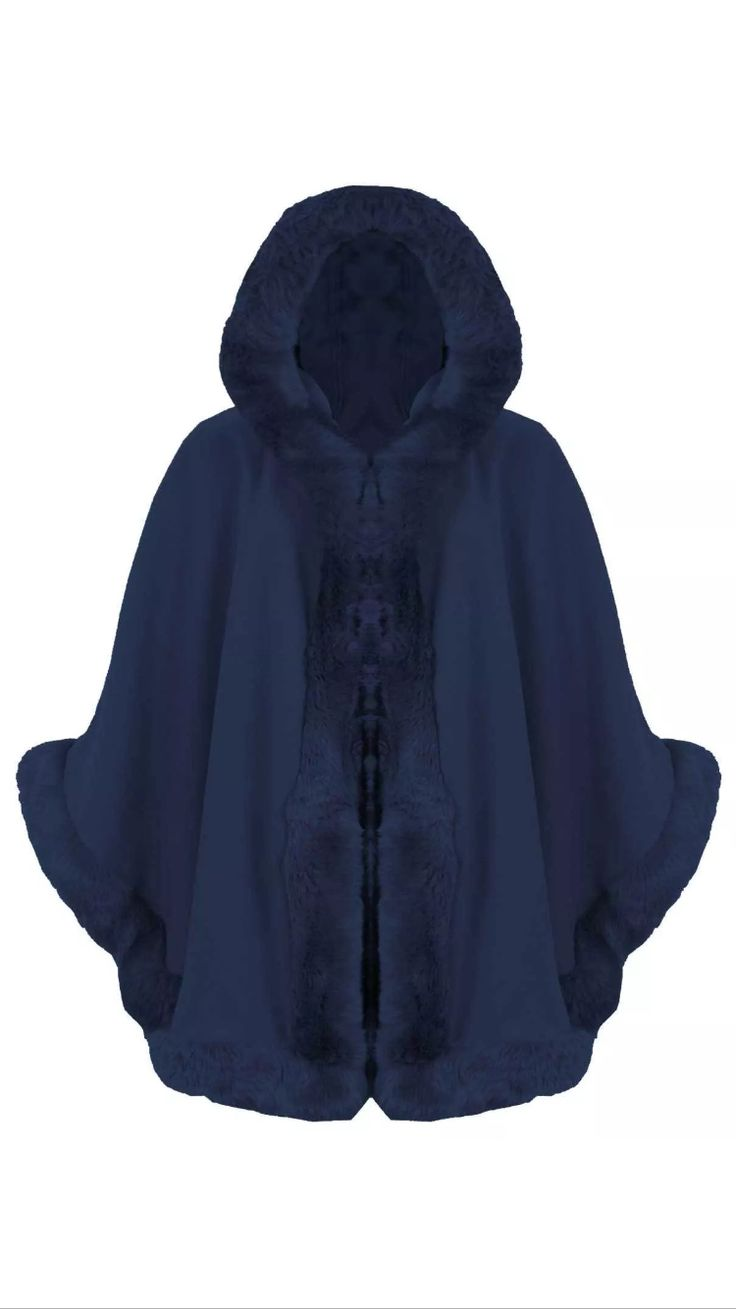 Navy Blue Fur Hooded Cape £40  Available On Our Website www.kandiclothesboutique.com