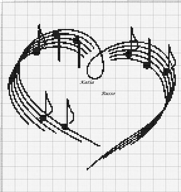 music heart cross stitch