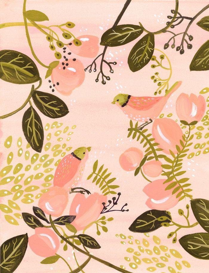 Peach Birds Print Amber Alexander