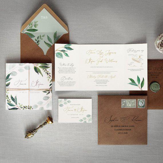 Cyprus – Luxury Folding Wedding Invitations & Save the Date. Rustic twine, Eucalyptus greenery wedding invites, green wedding invitation set