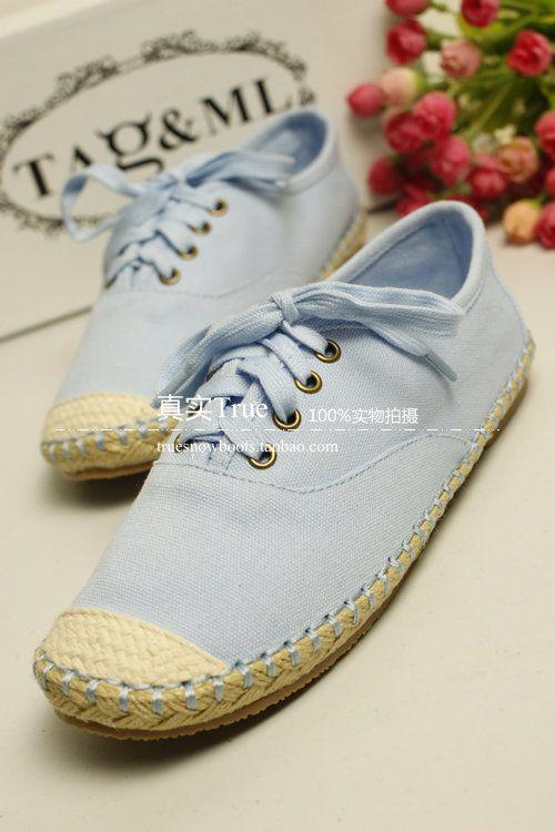Корея прекрасный мятно-зеленый кружева льняное конопляное подошве ботинок холстины студент обувь легкая обувь сухожилия в конце ленивый - Та ...
