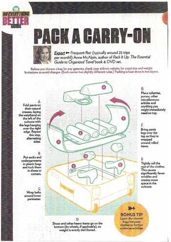 How to pack a carry-on: I used this when loading my pack for my trip to Italy and it was great.  Everything was balanced and protected.