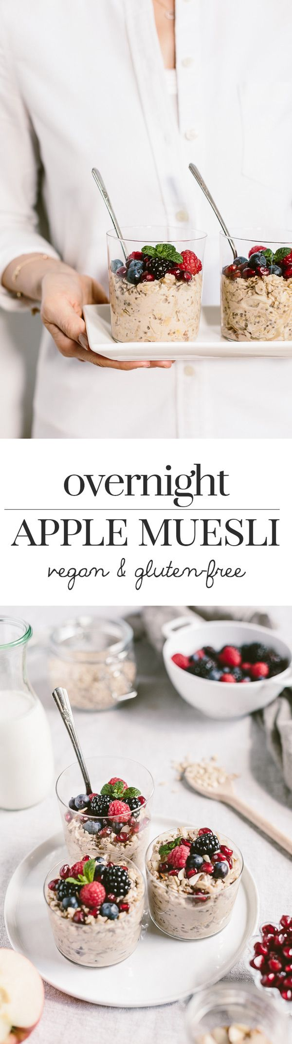 Overnight Apple Muesli - A vegan and gluten-free bircher muesli made with mixing shredded apples, almond milk, and almond yogurt. Come and see our new website at bakedcomfortfood.com!
