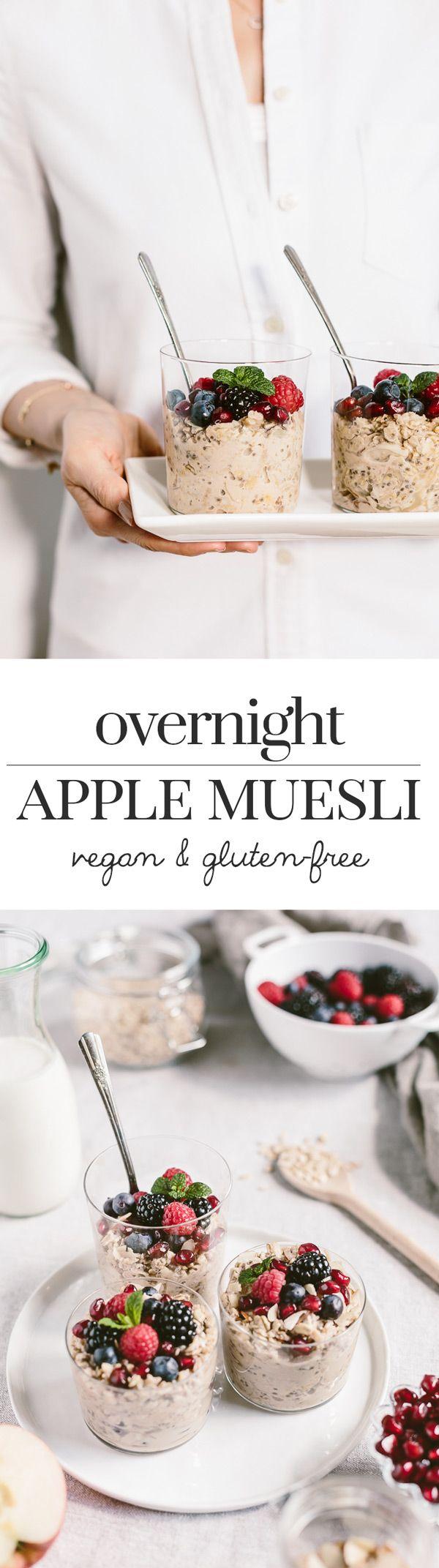 Overnight Apple Muesli - A vegan and gluten-free bircher muesli made with mixing shredded apples, almond milk, and almond yogurt.