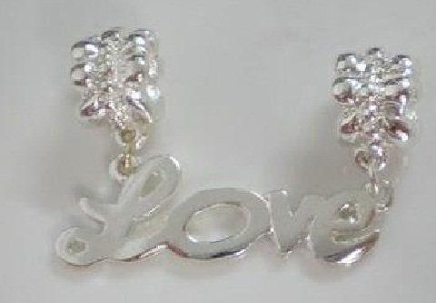 handmade silver  DANGLE LOVE charm bead european bracelet  FREE  SHIPPING