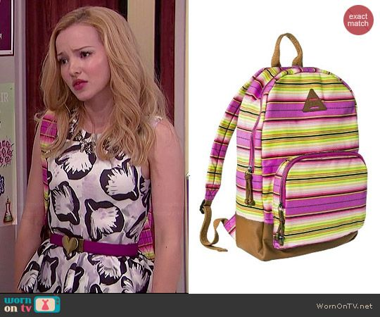 Liv's striped backpack on Liv and Maddie.  Outfit Details: http://wornontv.net/44698/ #LivandMaddie