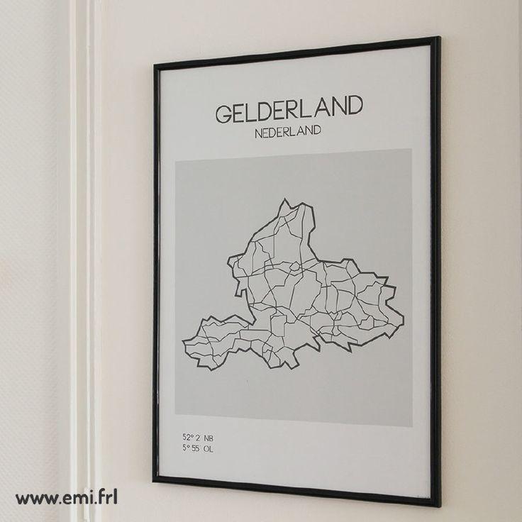 Gelderland, plattegrond, minimalistische Scandinavische stijl, Emi.frl