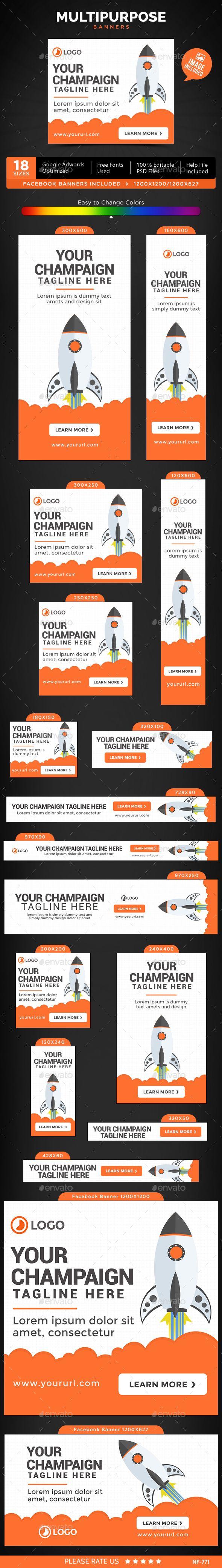 Multipurpose Web Banners Template PSD #ads #design Download: http://graphicriver.net/item/multipurpose-banners/13420370?ref=ksioks