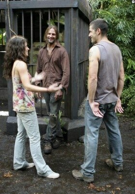 Evangeline Lilly, Josh Holloway and Matthew Fox on the set of Lost - Season 3.