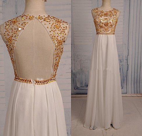 Backless Gold Beading A-Line Prom Dresses, Floor-Length Evening Dress,Prom Dresses,ST291