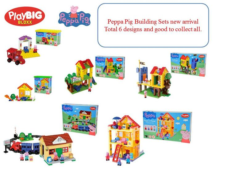 Sets included: PlayBIG BLOXX PEPPA PIG TRAIN STOP PlayBIG BLOXX PEPPA PIG GARDEN HOUSE PlayBIG BLOXX PEPPA PIG PLAYGROUND PlayBIG BLOXX PEPPA PIG TREEHOUSE PlayBIG BLOXX PEPPA PIG RESIDENCE PlayBIG BLOXX PEPPA PIG TRAIN STATION  These are the best presents for your kids, friends as Christmas presents. Don´t miss the chance to buy & collect all.  If anyone interested in these items, please let us know. Or visit our online shop.