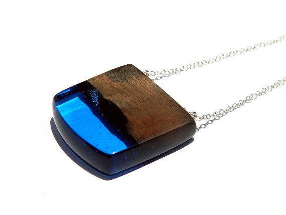 Sky Blue Resin and Wood Pendant