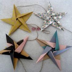 Guirlande étoiles en origami pour décoration murale chambre bébé fille enfant - rose, or, turquoise,noir , cadeau de naissance