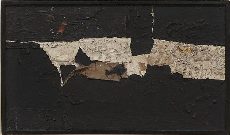 """ALBERTO BURRI """"Nero e oro,"""" 1951 Mixed media on masonite 12 1/2 by 21 7/8 in. 31.8 by 55.6 cm"""