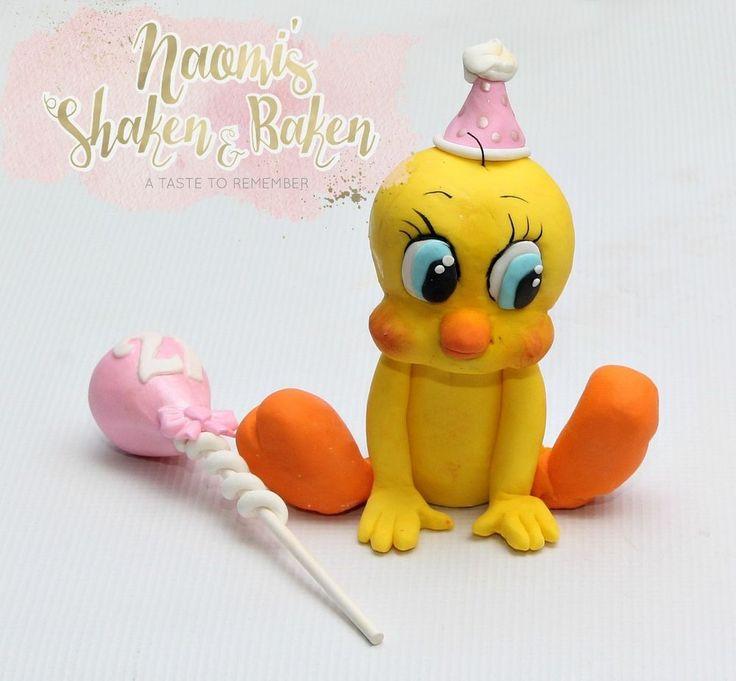 Edible Tweety & Balloon Fondant Cake Topper Set 10-13cm #BirthdayBabyShower