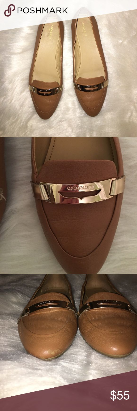 Coach flats Coach tan pointed flats. Gold hard ware. Logo on front. Worn a couple times, still in almost perfect condition. Abbot of wear on toes of shoes. Small scratch on outside of right shoes (pic 6) and scratch on gold paint inner edge of shoe (pic 7). No wear on bottom of shoes. Coach Shoes Flats & Loafers