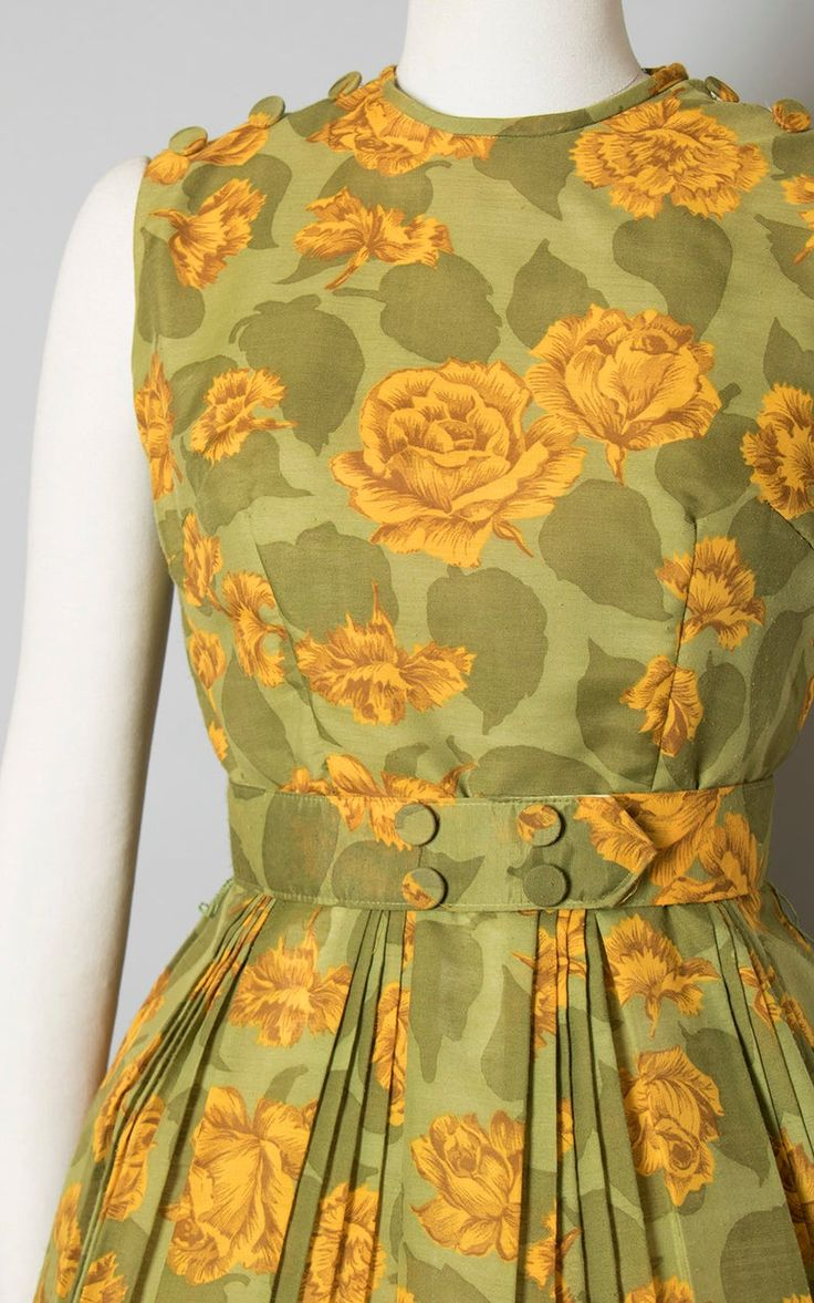Vintage 1960s Dress | 60s Rose Floral Print Sundress Cotton Yellow Green Pleated…