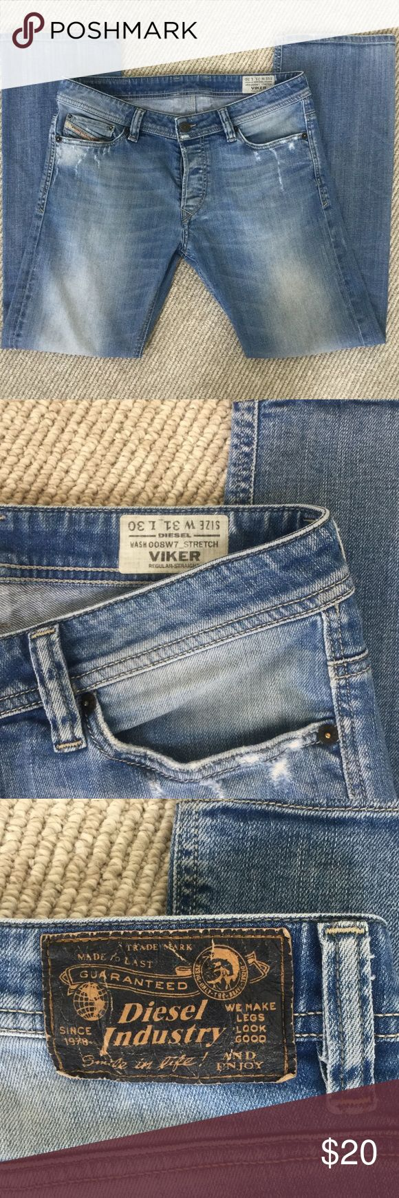 Straight leg Diesel jeans These well-worn Diesel jeans still have a lot of life in them! Waist 31, length 30. Light wash with intentional distressing around the front and back pockets. There is a small hole in one knee (see pic) and little stain on the front left (again...see pics). Priced to sell! Diesel Jeans Straight