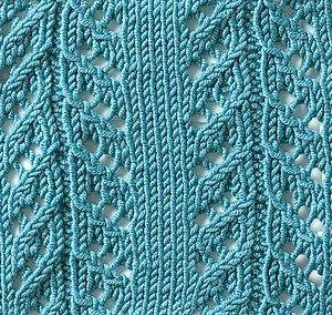 ścieg na drutach - gałązki świerku