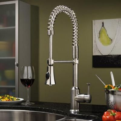 American Standard Pekoe Semi Professional Single Handle Pull Down Sprayer  Kitchen Faucet In Stainless Steel