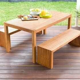 3-Piece Wooden Table and Bench Set