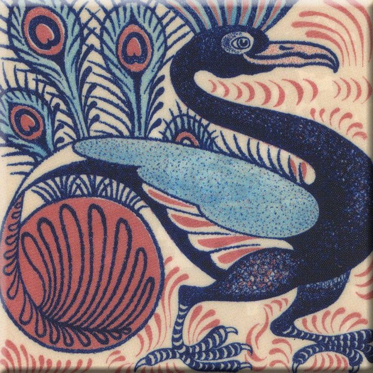 Decorative Ceramic tile 4.25 X 4.25 inch, Illustration william de Morgan #3