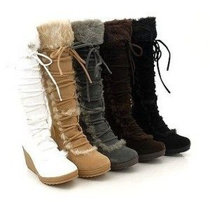 suede winter boots for women | Amazon.com: FUR! Winter WHITE Snow Women's Suede Wedge Boots: Shoes