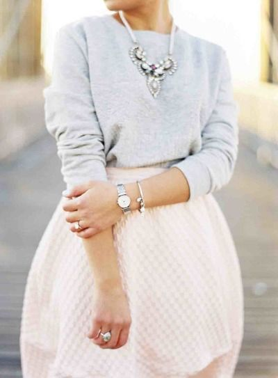Way to tuck a sweater. Use a bodysuit! Grey heather tucked in to tulip pastel skirt.