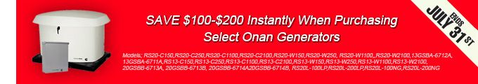 Save $100 - $200 Instantly when Purchasing Select Onan Generators Click Here for more info http://www.norwall.com/pages/Current-Sales.html