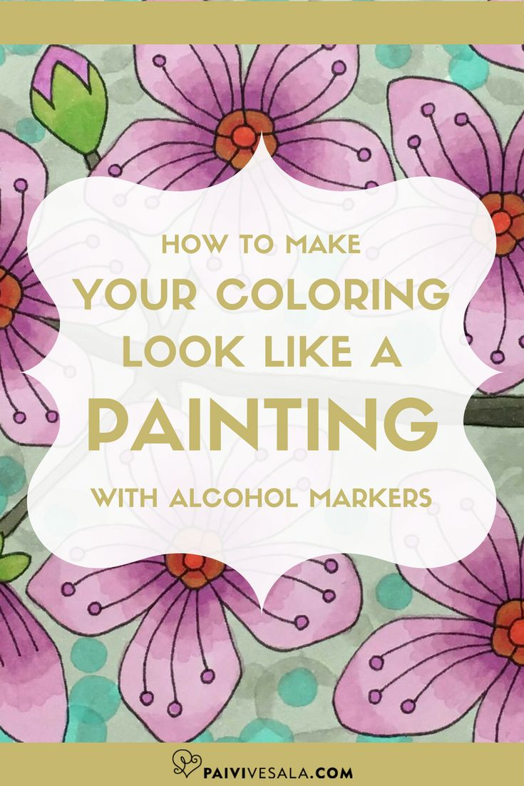 Using alcohol markers you can quickly and easily make your coloring look like a painting. Use neighboring tones and spread the colors in layers.