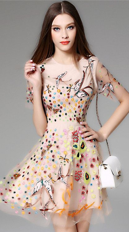Apricot Bird Floral Embroidery Dress