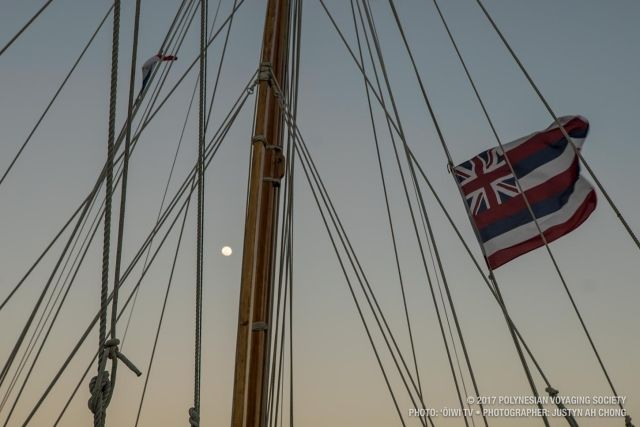 The moon rises in front of Hōkūleʻa on our night out on Lake Gatun.
