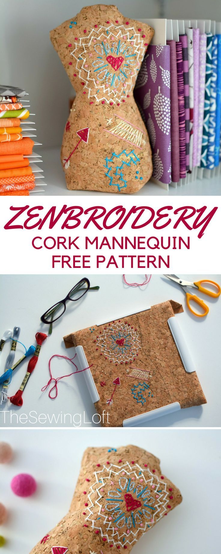 Ever think about using cork fabric to sew on? It's pretty cool especially for zenbroidery. Grab this free DIY mannequin pattern and make one today.  @commonthreadus