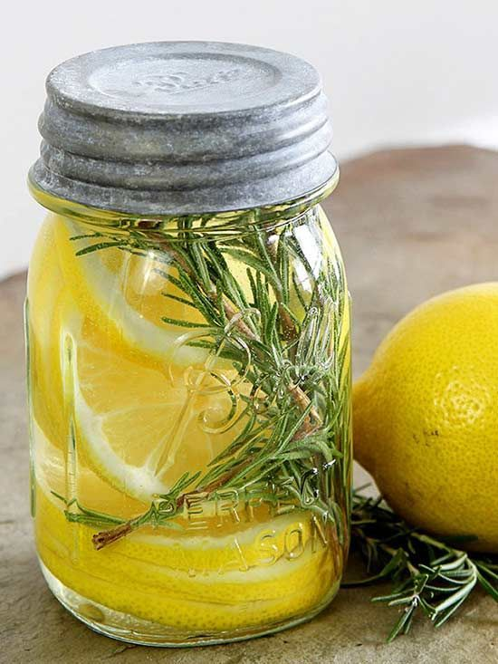 Get rid of odors in the kitchen, bathroom or any room in your home with these natural ways to freshen the smell! Jars and containers filled with mixtures such as lemon and rosemary, lilac or cinnamon and orange freshen the smell and look adorable in your home!