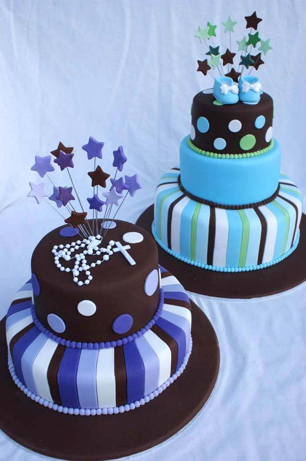Christening Cakes with stripes