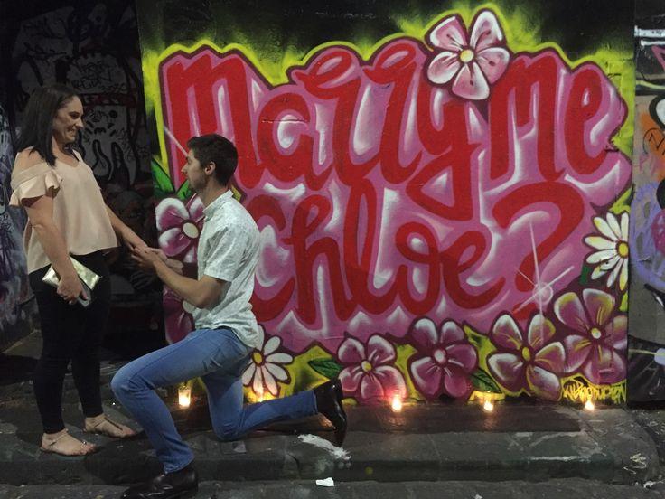 """Marry me Chloe"" - on lactation street art wedding proposal. November 2016. For sales enquires - www.kilproductions.com.au"