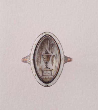 Anello da lutto con miniatura in grisaille