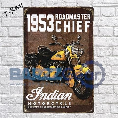25 best ideas about vintage metal signs on pinterest for Motorcycle decorations home