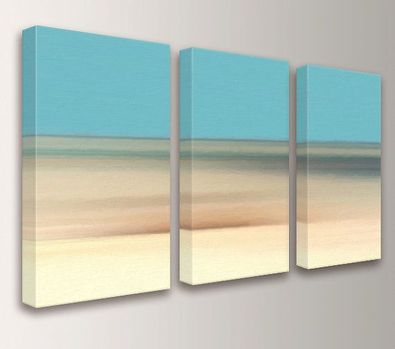 Landscape Painting - Canvas Print - Triptych Beach Decor