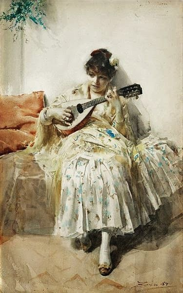 Girl Playing Mandolin by Anders Leonard Zorn, 1884