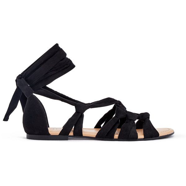 ShoeDazzle Flat Sandals Denitsa Womens Black found on Polyvore featuring shoes, sandals, flats, black, flat sandals, ankle wrap sandals, ankle strap sandals, flat shoes and lace up flat sandals