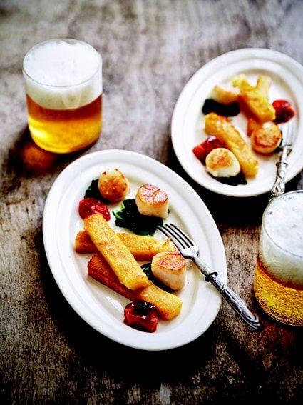 Noix de Saint-Jacques sur lit d'épinards, polenta citronnée à la bière Edelweiss