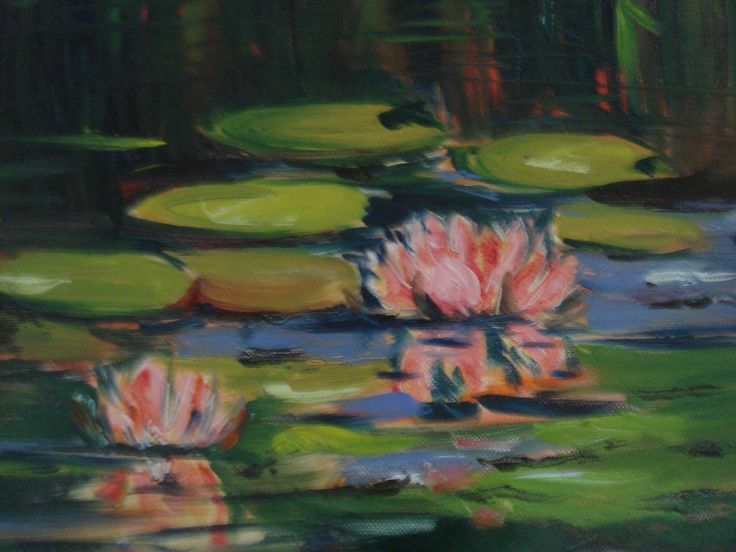 Water lilies - oil on board