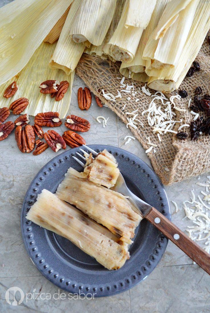 Tamales de piña y coco www.pizcadesabor.com
