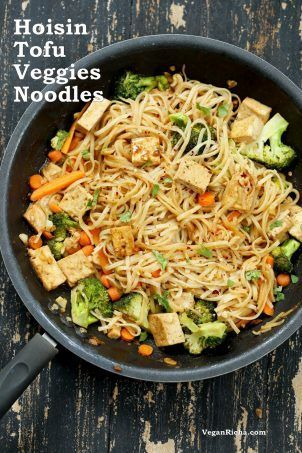 Tofu and Brown Rice Noodles in Vegan Hoisin Sauce with from scratch hoisin sauce. Hoisin Noodles Veggie Stir fry. Use more veggies to make tofu-free. Vegan Hoisin Sauce Recipe. Gluten-free.