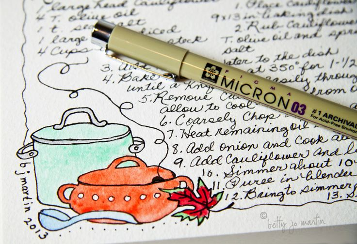 Hand drawn and painted art-journal recipe cards by Betty Jo Martin