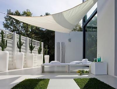 White breezy minimal outdoor courtyard