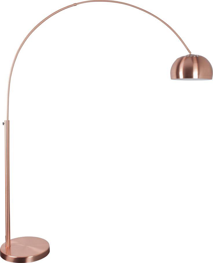 Een booglamp van het merk Zuiver. De Metal Bow Copper is gemaakt van verkoperd metal en is in hoogte en breedte verstelbaar. Een eigentijdse uitvoering van een klassiek retro design. Max. 60 watt. €219